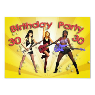 """30th Birthday Party invitation with a girl band 5"""" X 7"""" Invitation Card"""