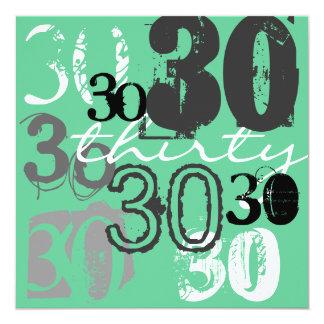 """30th Birthday Party Invitations 5.25"""" Square Invitation Card"""