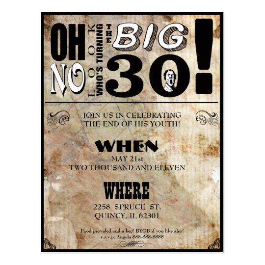30th Birthday Party Invitations Postcard