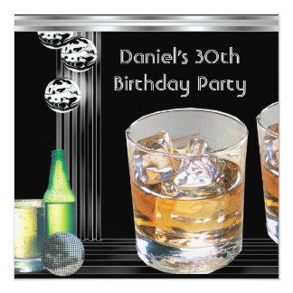 30th Birthday Party Mens Drinks Black Silver 13 Cm X 13 Cm Square Invitation Card