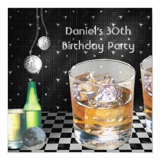 30th Birthday Party Mens Drinks Black Silver male 13 Cm X 13 Cm Square Invitation Card