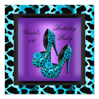 30th Birthday Party Purple Leopard Teal Blue 13 Cm X 13 Cm Square Invitation Card