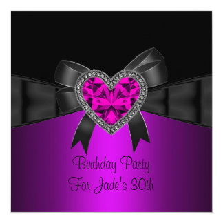 30th Birthday Party Purple Pink Heart Jewel Black 13 Cm X 13 Cm Square Invitation Card