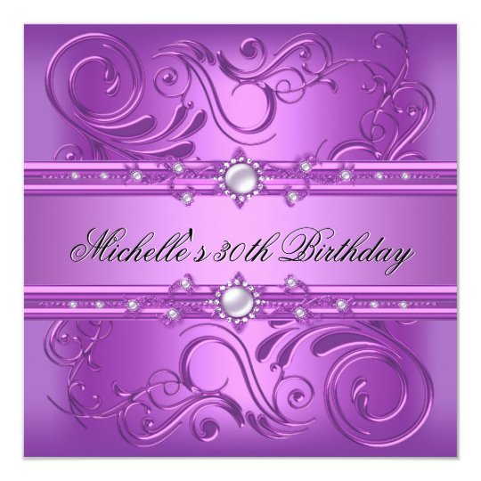 30th Birthday Party Purple Pink Pearl Jewel floral Card