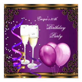 30th Birthday Party Purple Plum Gold Balloons 13 Cm X 13 Cm Square Invitation Card