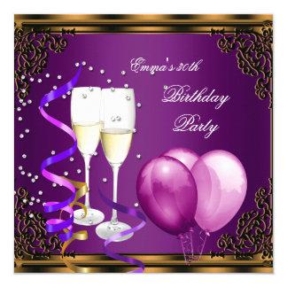 30th Birthday Party Purple Plum Gold Balloons Card