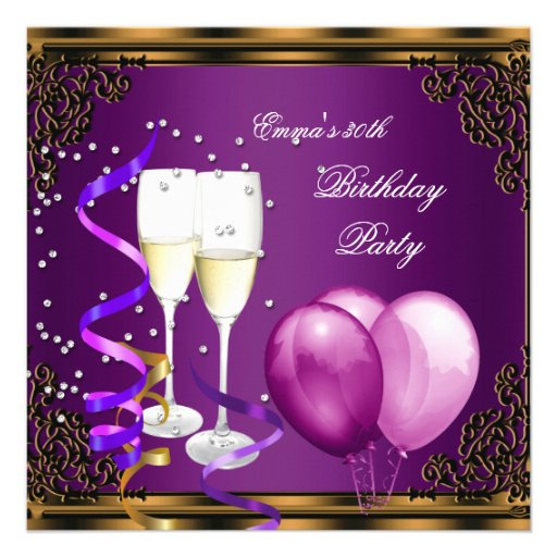 30th Birthday Party Purple Plum Gold Balloons Announcement