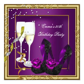 30th Birthday Party Purple Plum Gold Black 13 Cm X 13 Cm Square Invitation Card