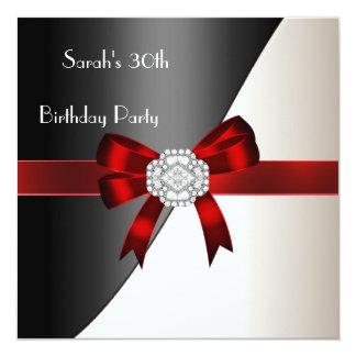 30th Birthday Party Red White Black Diamond 13 Cm X 13 Cm Square Invitation Card