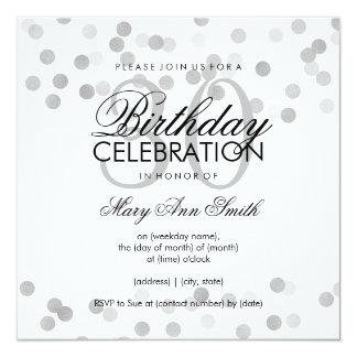 30th Birthday Party Silver Foil Glitter Lights 13 Cm X 13 Cm Square Invitation Card