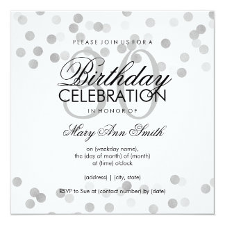 30th Birthday Party Silver Foil Glitter Lights Card