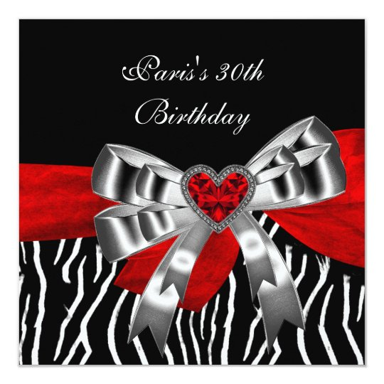30th Birthday Party Silver Red Black White Zebra
