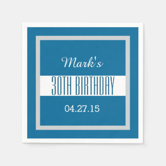 30th Birthday Party Solid Colored Square Frame B14 Disposable Napkin