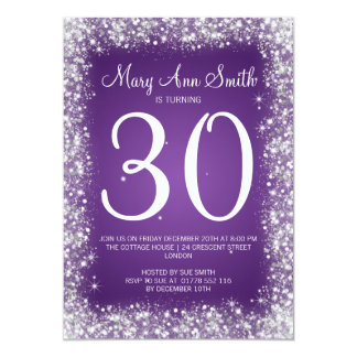 30th Birthday Party Sparkling Glitter Purple 13 Cm X 18 Cm Invitation Card