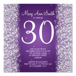 30th Birthday Party Sparkling Glitter Purple Card