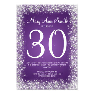 30th Birthday Party Sparkling Glitter Purple Personalized Invitation