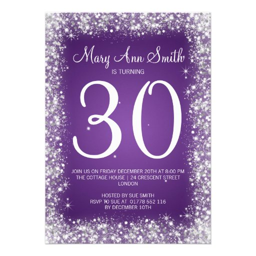 30th Birthday Party Sparkling Glitter Purple Personalized Invitation