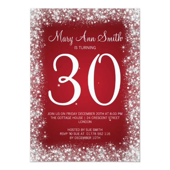 30th Birthday Party Sparkling Glitter Red Card