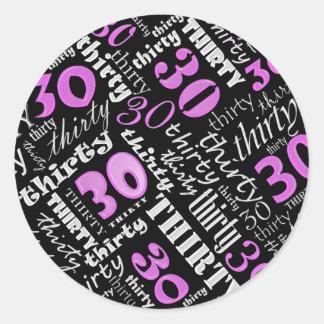 30th Birthday Party Sticker Round Sticker