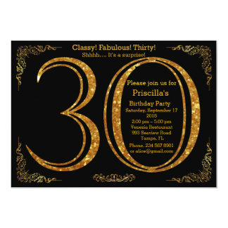 30th,Birthday party, thirty, Gatsby, black & gold 13 Cm X 18 Cm Invitation Card