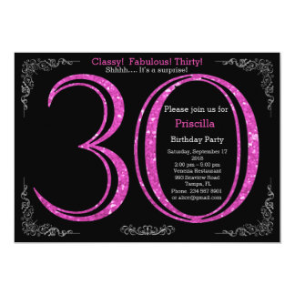 30th, Birthday party, thirty, Gatsby, black silver 13 Cm X 18 Cm Invitation Card