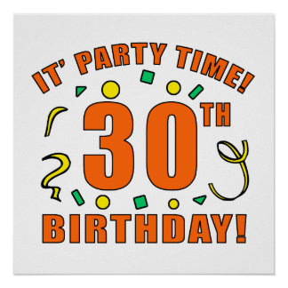 30th Birthday Party Time Posters