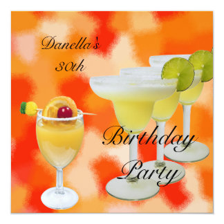 30th Birthday Party Tropical Drinks 13 Cm X 13 Cm Square Invitation Card