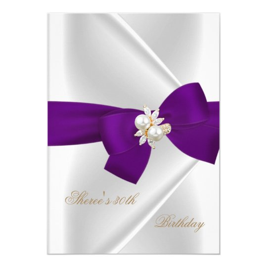 30th Birthday Party White Pearl Jewel Purple Bow Card