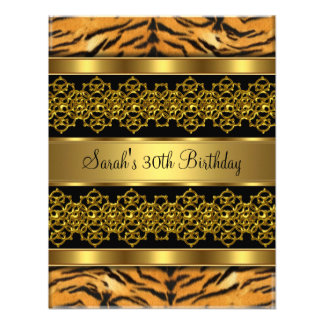 30th Birthday Party Wild Gold Lace Black Personalized Announcements