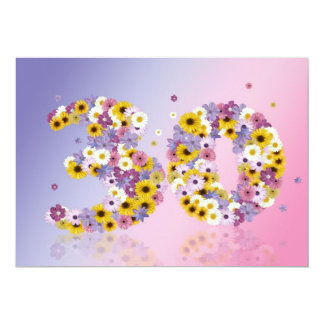 """30th Birthday party, with flowered letters 5"""" X 7"""" Invitation Card"""