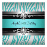 30th Birthday Party Zebra Teal Blue Silver Black Personalised Invite