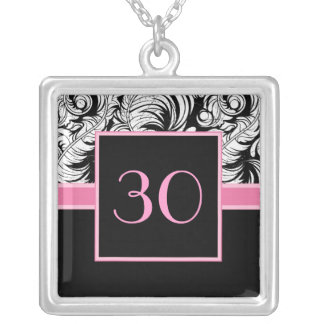 30th Birthday Pendant - Elegant Damask