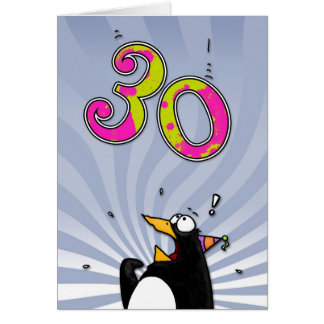 30th Birthday - Penguin Surprise Card