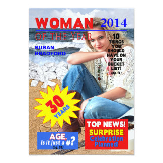 30TH Birthday PHOTO Invitation - Magazine Cover