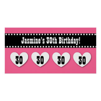 30th Birthday Pink Black Hearts Banner Custom V10 Posters