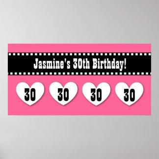 30th Birthday Pink Black Hearts Banner Custom V10 Posters