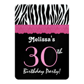 30th Birthday Pink Black Zebra Metallic Paper 11 Cm X 16 Cm Invitation Card