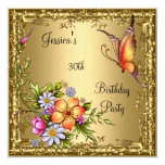 30th Birthday Pink Floral Butterfly Bronze Gold Personalized Announcement