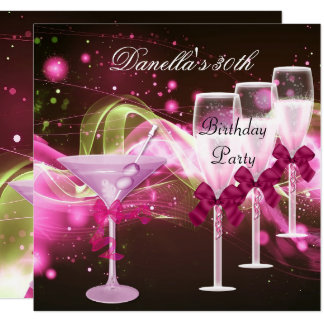 30th Birthday Pink Martini Champagne Card