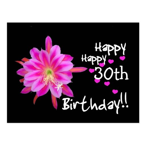 30th Birthday - Pink Tropical Flower and Hearts Postcard