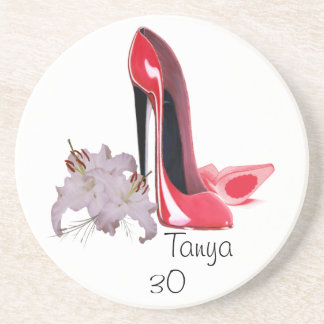 30th Birthday Red Stiletto Shoes and Lilies Coaste Drink Coaster