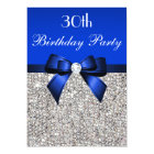 30th Birthday Royal Blue Bow Silver Sequins Card