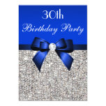 30th Birthday Royal Blue Bow Silver Sequins 13 Cm X 18 Cm Invitation Card