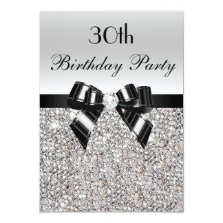 30th Birthday Silver Sequin Black Bow Diamond 13 Cm X 18 Cm Invitation Card