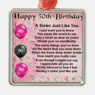 30th Birthday Sister Poem Silver-Colored Square Decoration