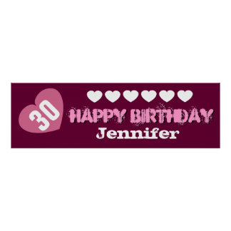 30th Birthday Star Banner Custom V02C HEARTS Poster