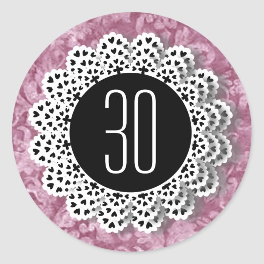 30th Birthday Sticker Pink and Black Lace V009CC