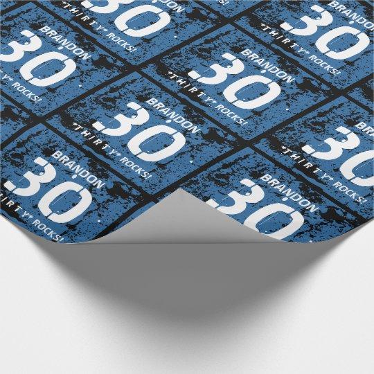 30th Birthday Thirty Rocks BLUE Grunge Pattern F3Z