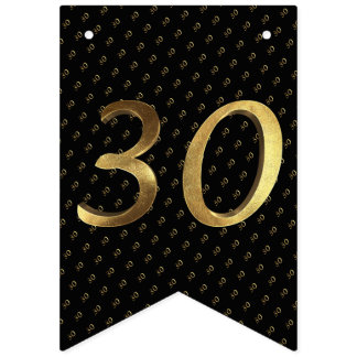 30th Birthday Wedding Anniversary Black and Gold Bunting