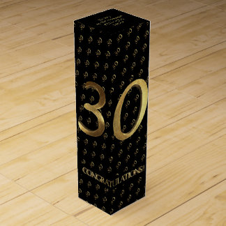 30th Birthday Wedding Anniversary Black and Gold Wine Box